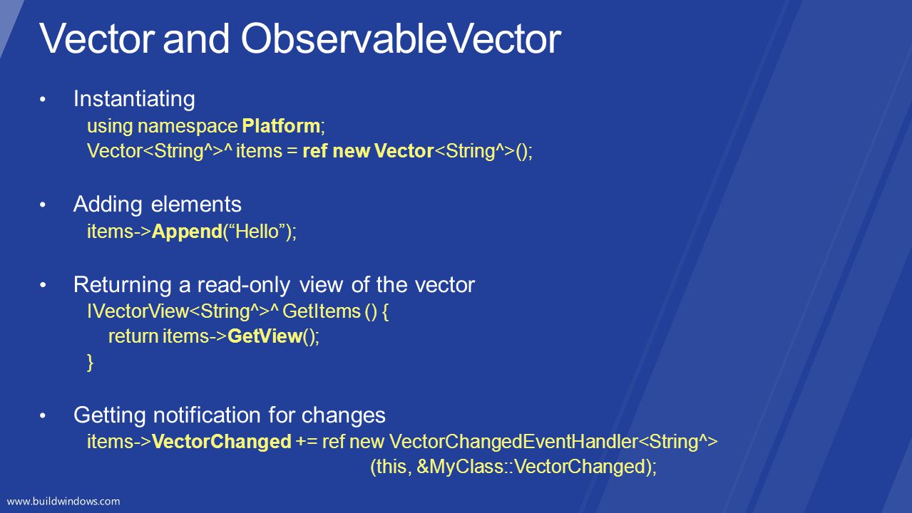 Vector and ObservableVector
