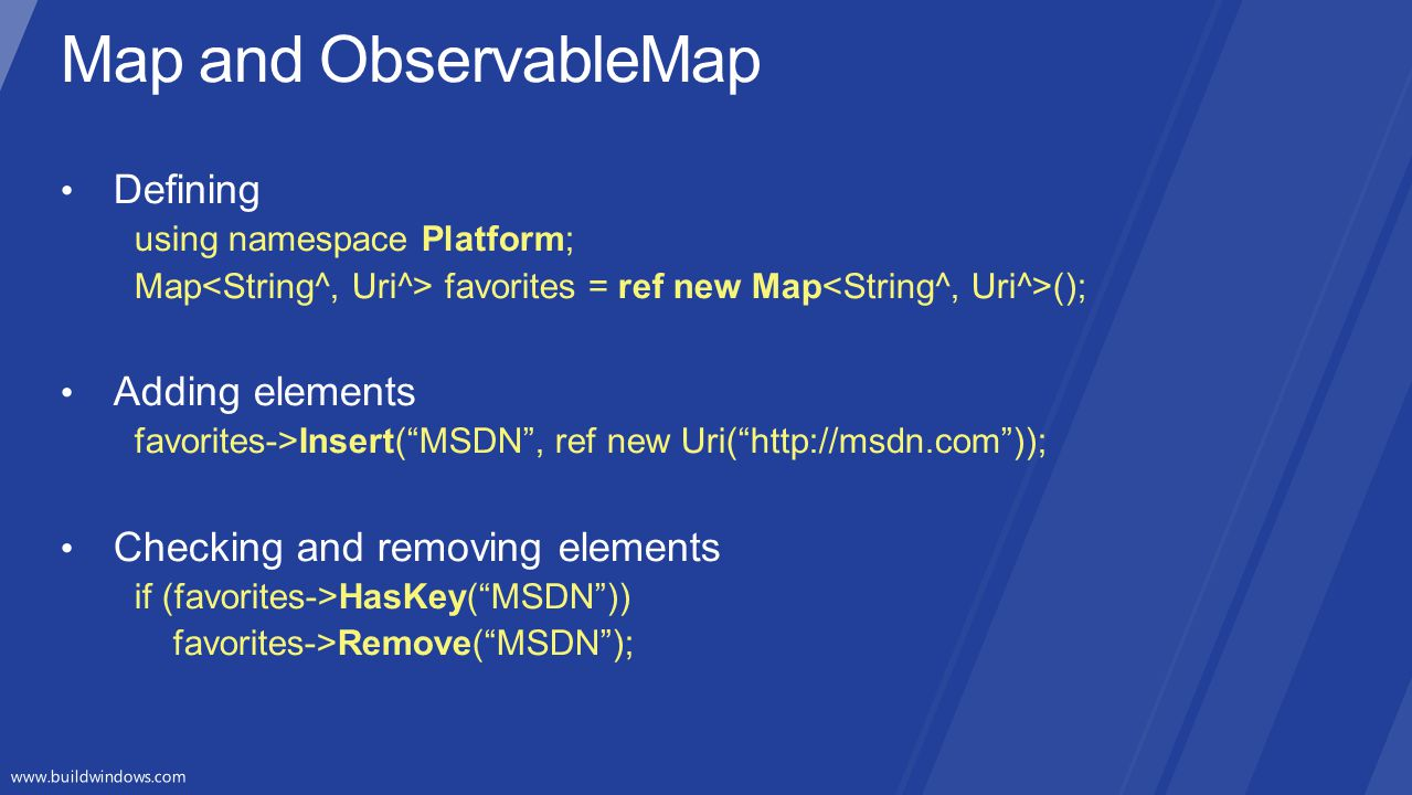 Map and ObservableMap Defining Adding elements