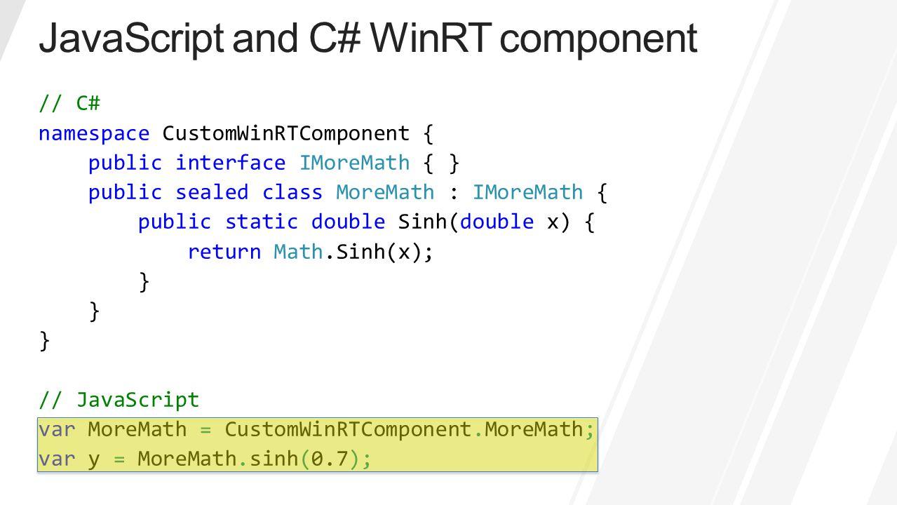 JavaScript and C# WinRT component