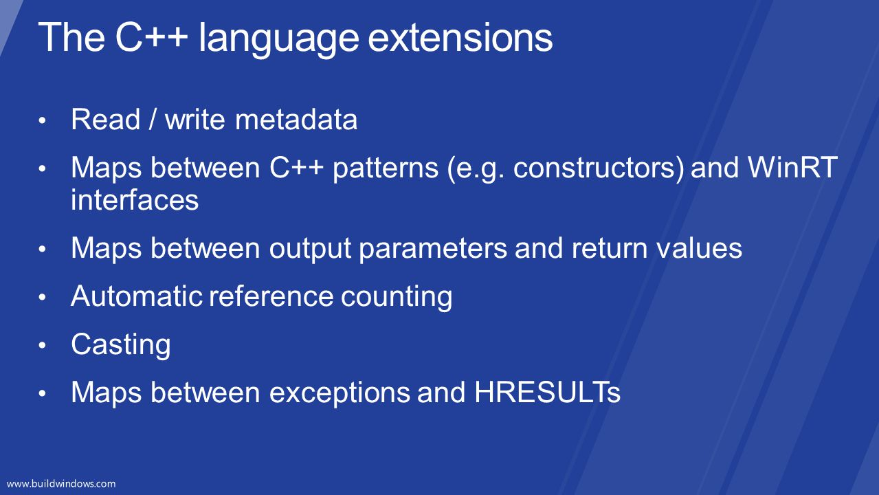The C++ language extensions