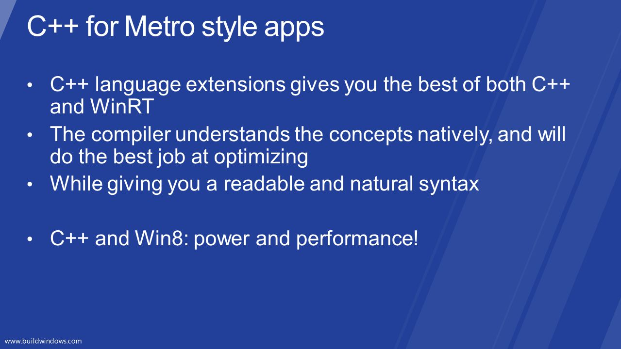 C++ for Metro style apps