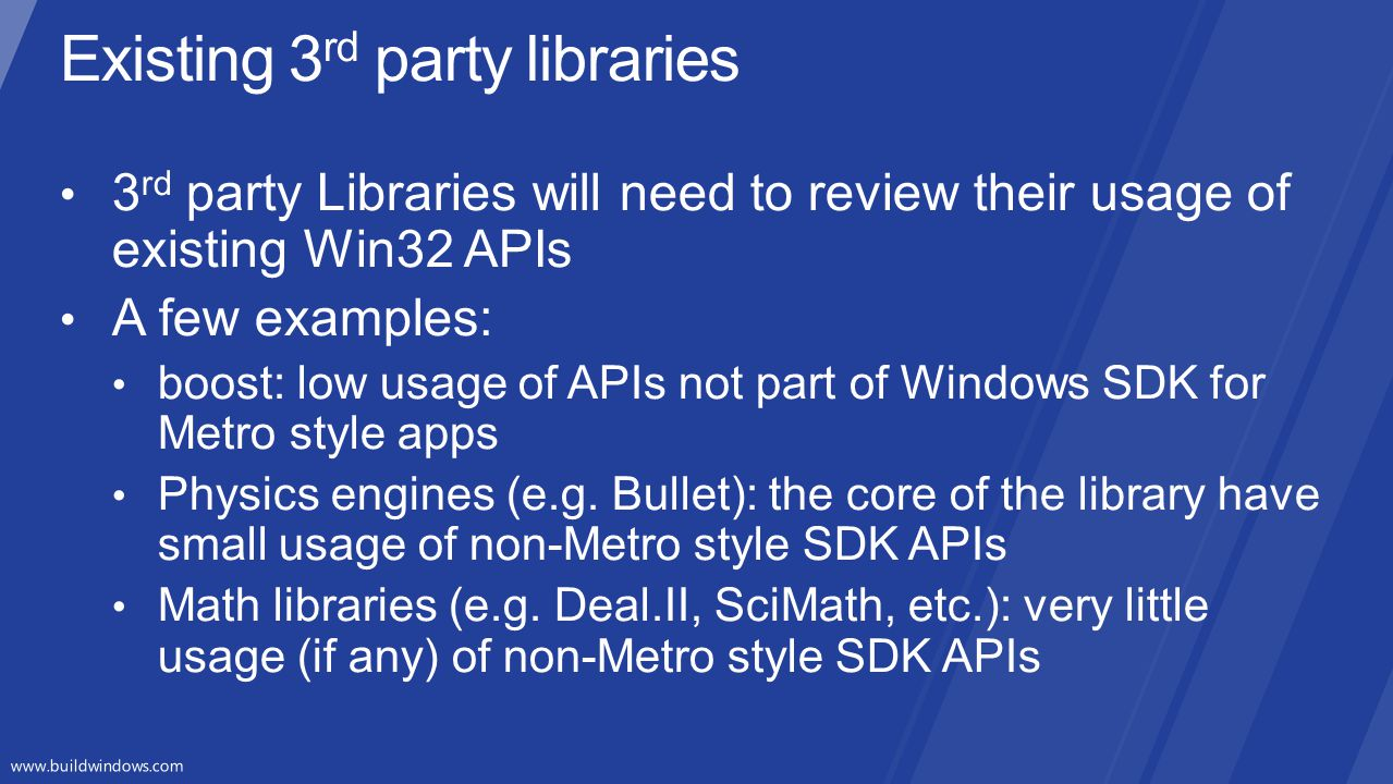Existing 3rd party libraries