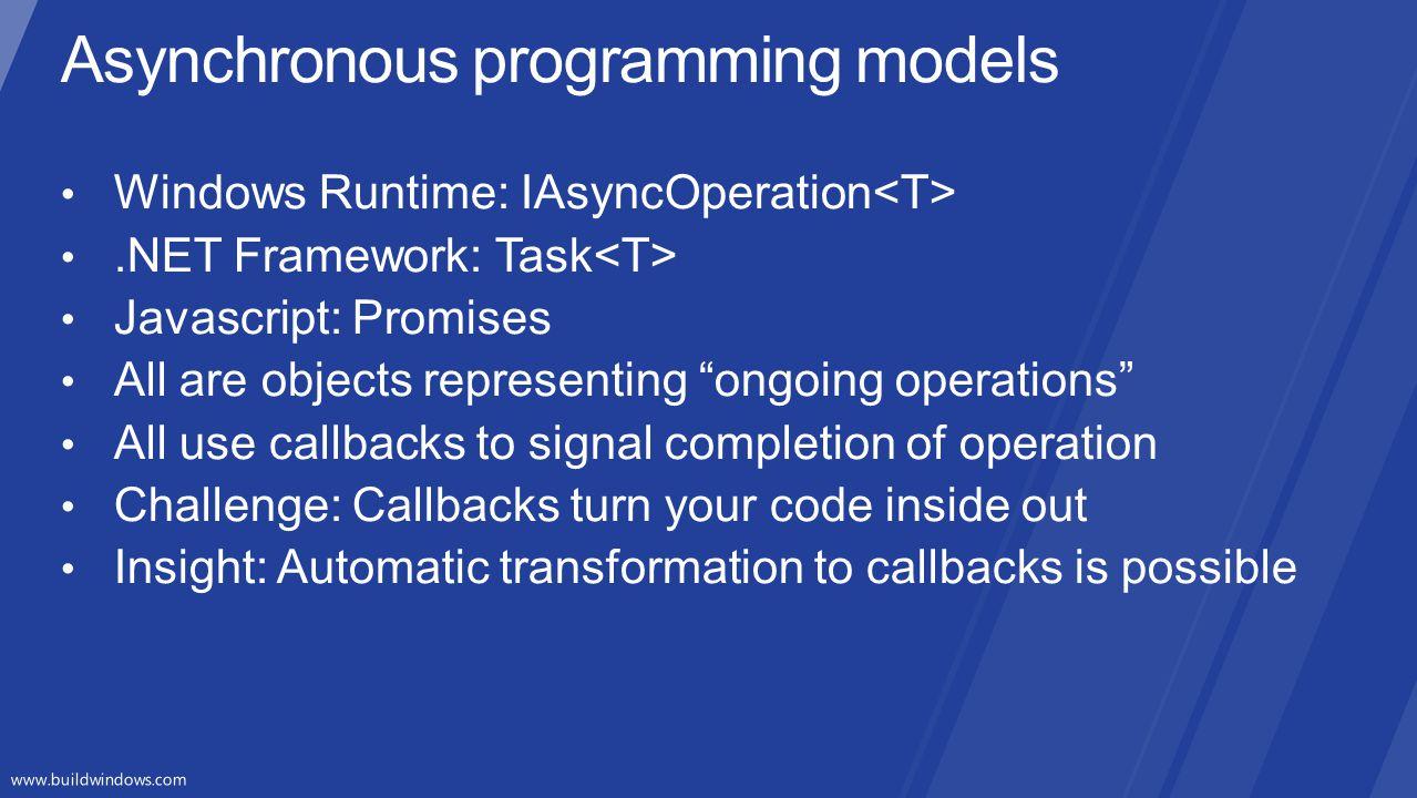 Asynchronous programming models