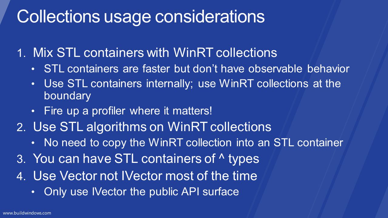 Collections usage considerations
