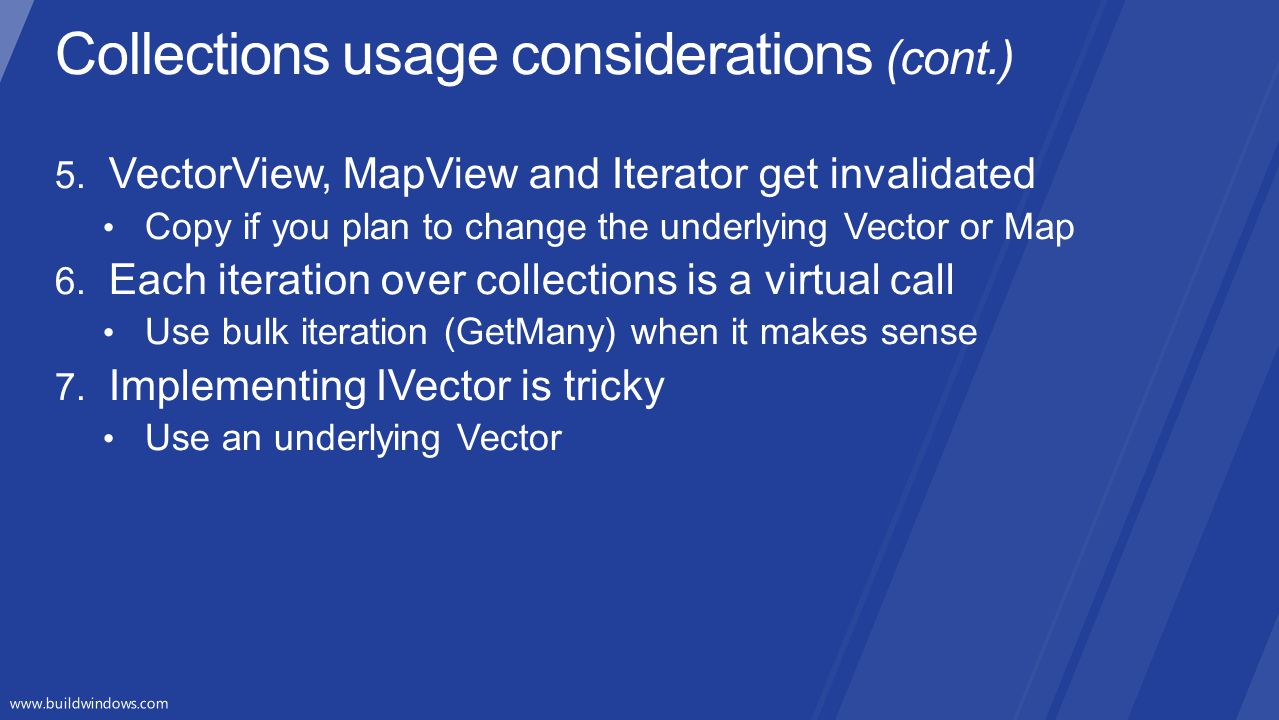 Collections usage considerations (cont.)