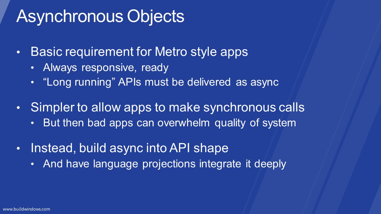 Asynchronous Objects Basic requirement for Metro style apps