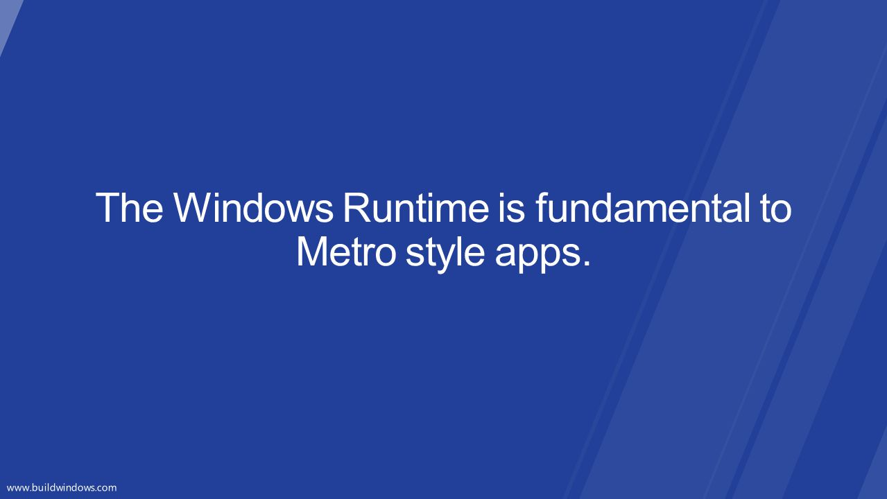 The Windows Runtime is fundamental to Metro style apps.