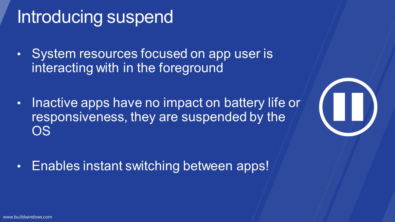 Introducing suspend System resources focused on app user is interacting with in the foreground.
