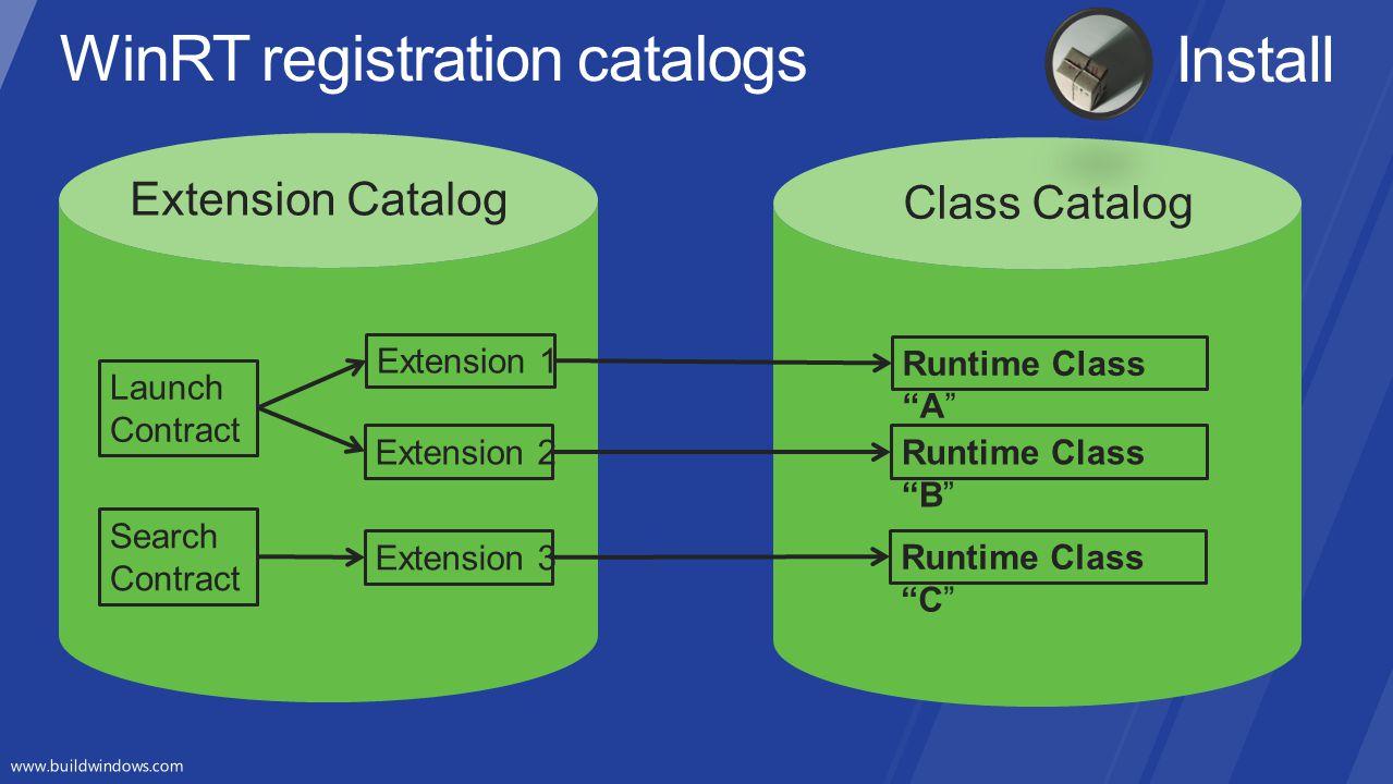 WinRT registration catalogs