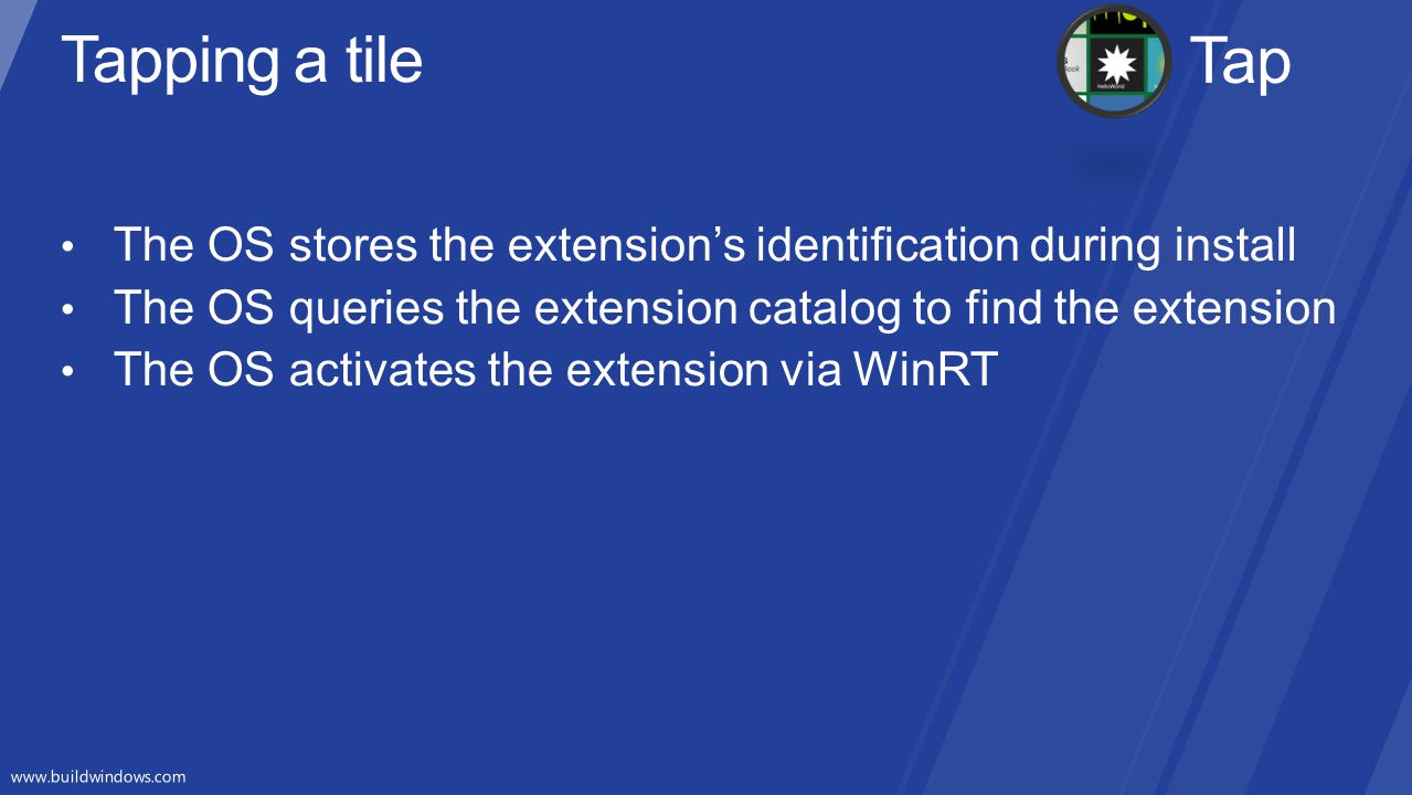 Tapping a tile Tap. The OS stores the extension's identification during install. The OS queries the extension catalog to find the extension.