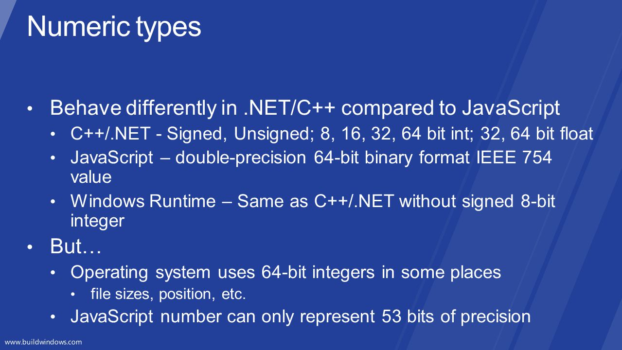 Numeric types Behave differently in .NET/C++ compared to JavaScript