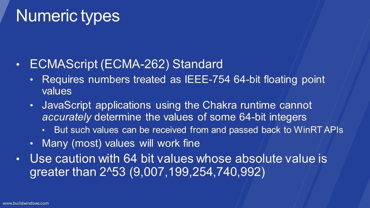 Numeric types ECMAScript (ECMA-262) Standard