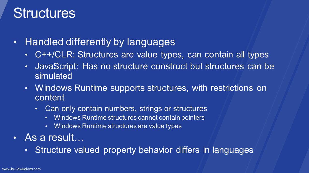 Structures Handled differently by languages As a result…
