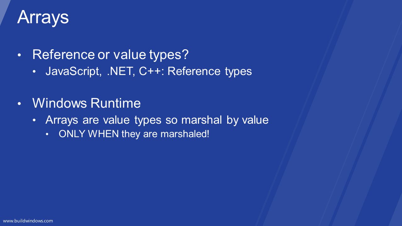 Arrays Reference or value types Windows Runtime