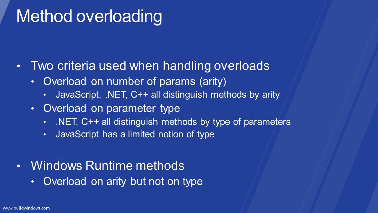Method overloading Two criteria used when handling overloads