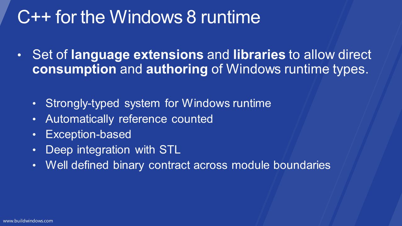 C++ for the Windows 8 runtime