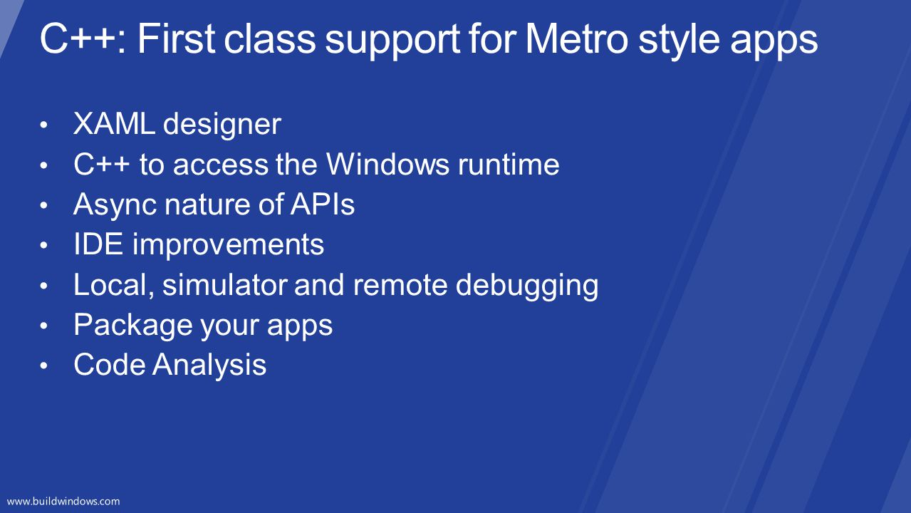 C++: First class support for Metro style apps