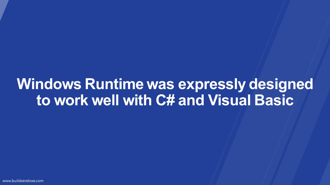 Windows Runtime was expressly designed to work well with C# and Visual Basic