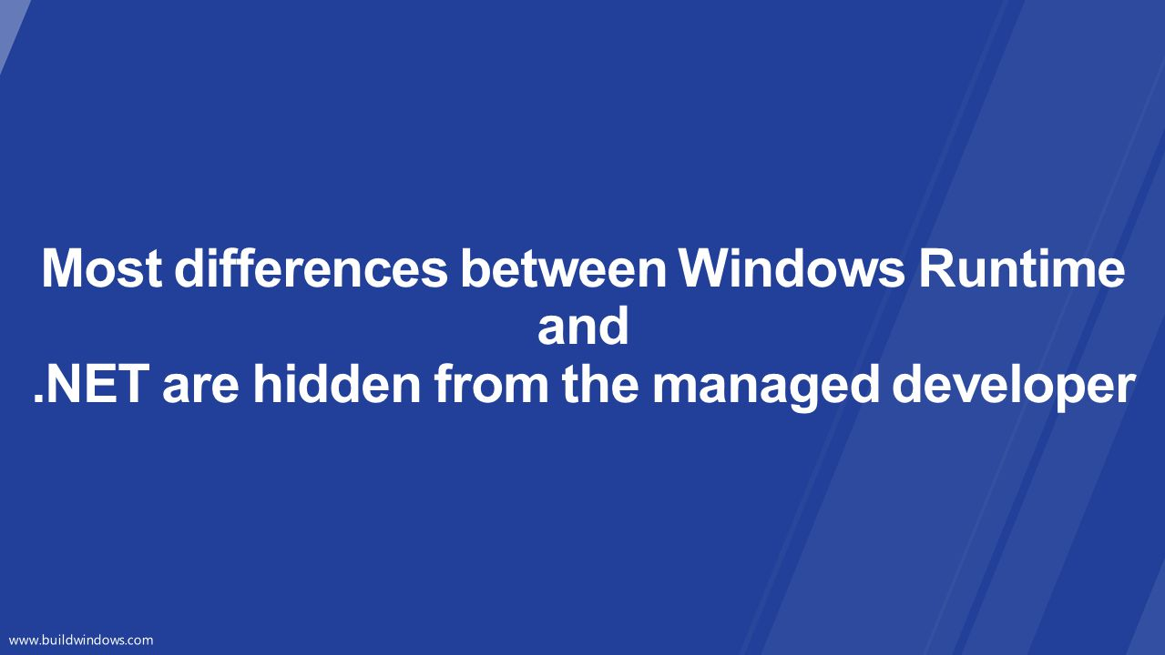 Most differences between Windows Runtime and
