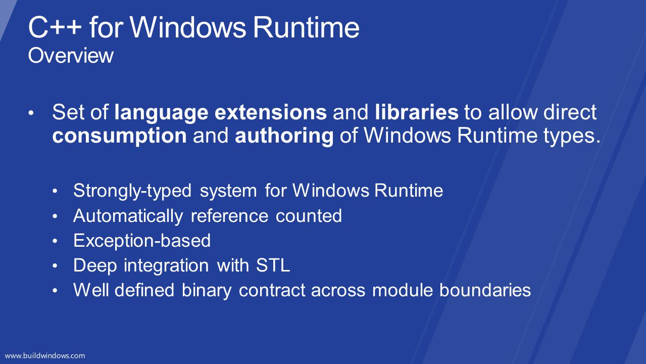 C++ for Windows Runtime Overview