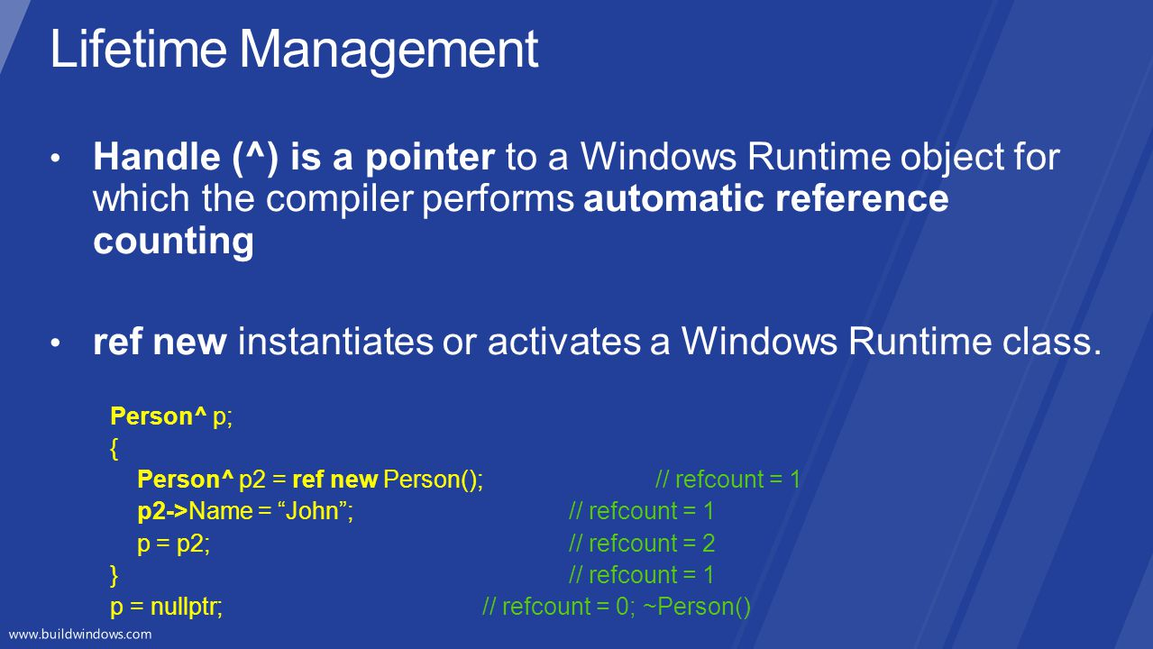 Lifetime Management Handle (^) is a pointer to a Windows Runtime object for which the compiler performs automatic reference counting.