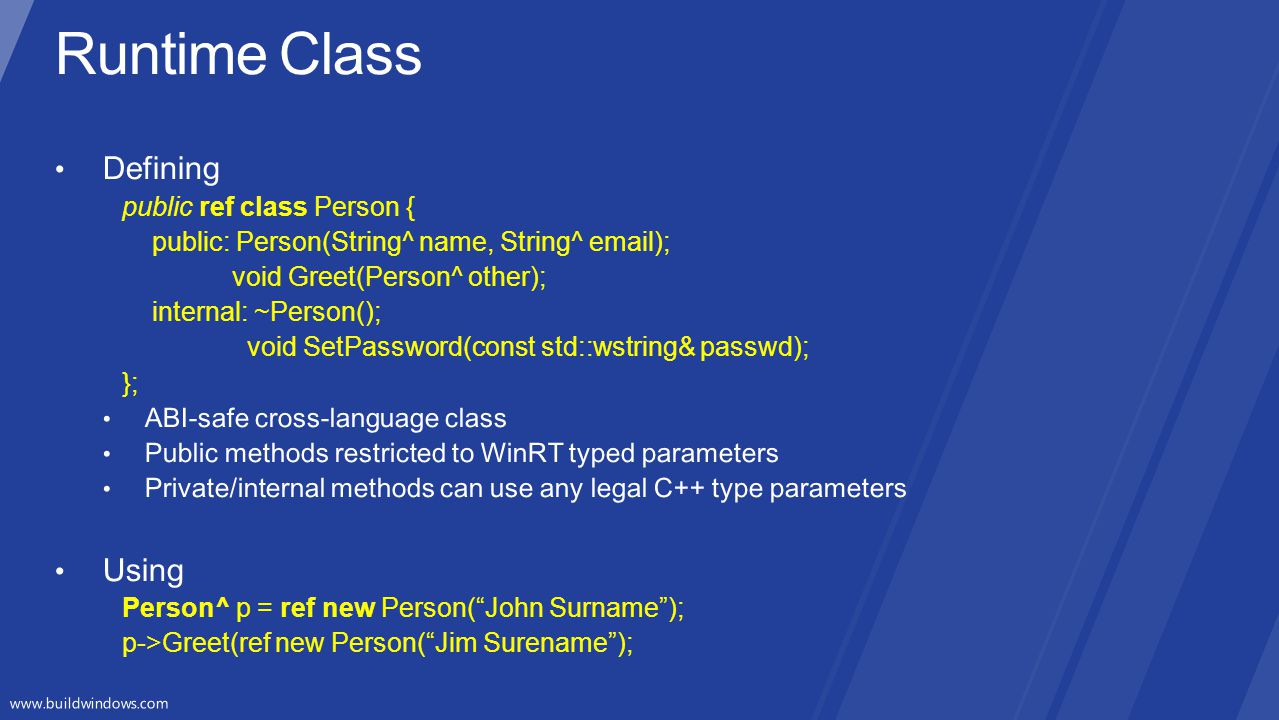 Runtime Class Defining Using public ref class Person {