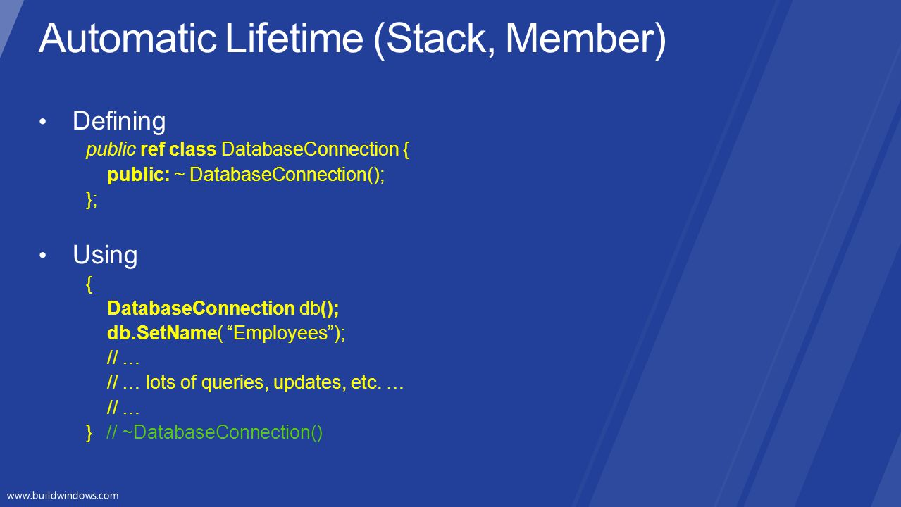 Automatic Lifetime (Stack, Member)