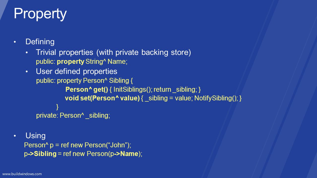 Property Defining Trivial properties (with private backing store)