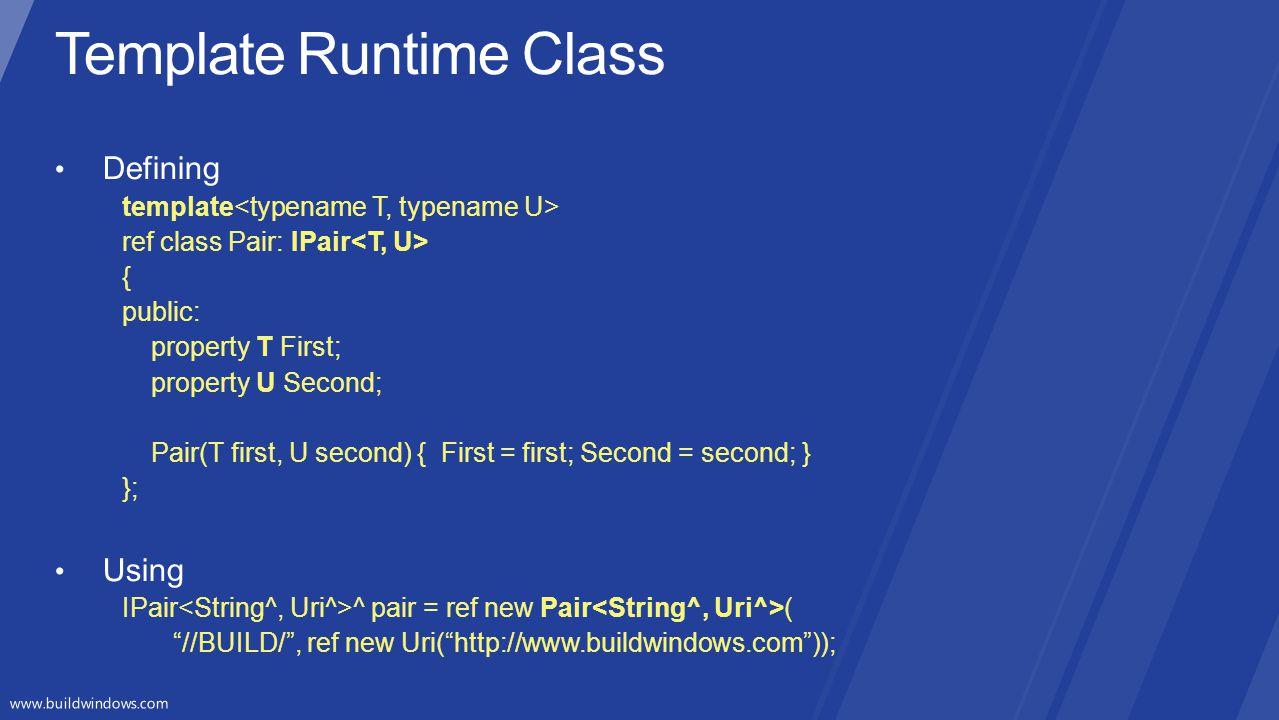 Template Runtime Class