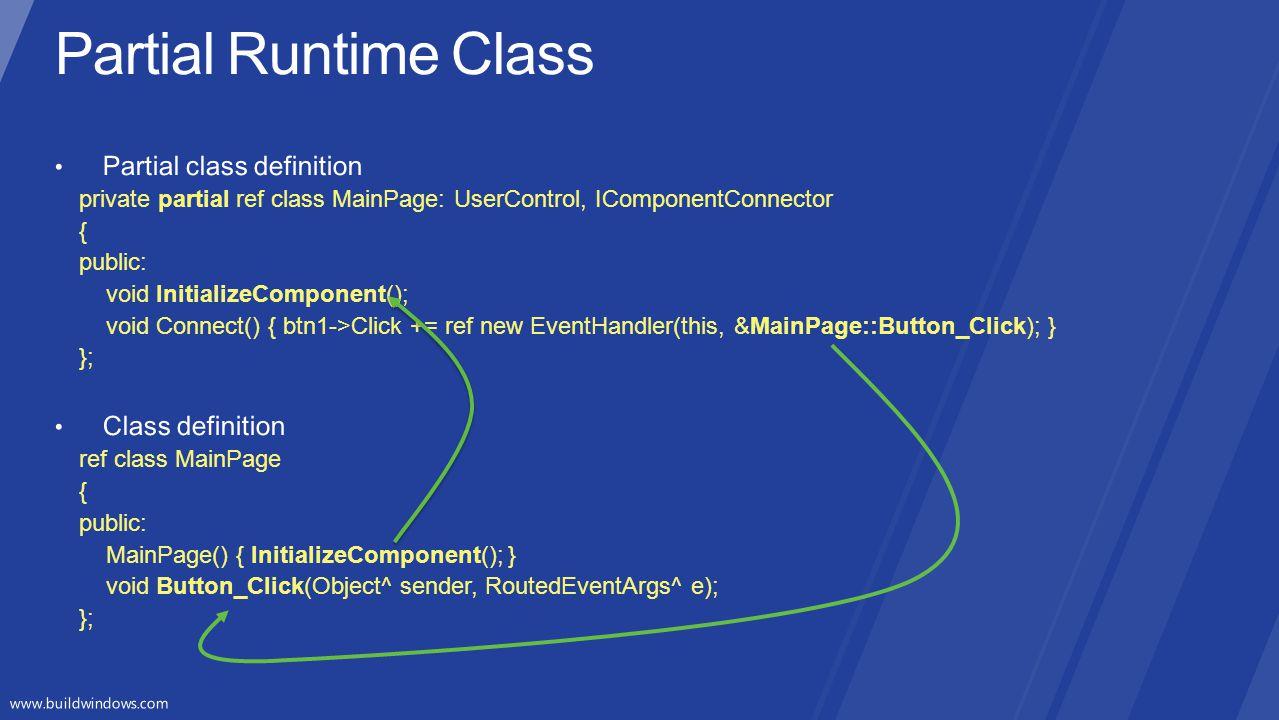 Partial Runtime Class Partial class definition Class definition