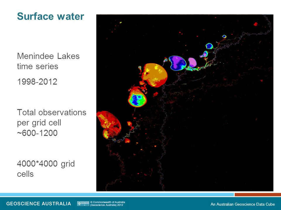 Surface water Menindee Lakes time series 1998-2012 Total observations per grid cell ~600-1200 4000*4000 grid cells