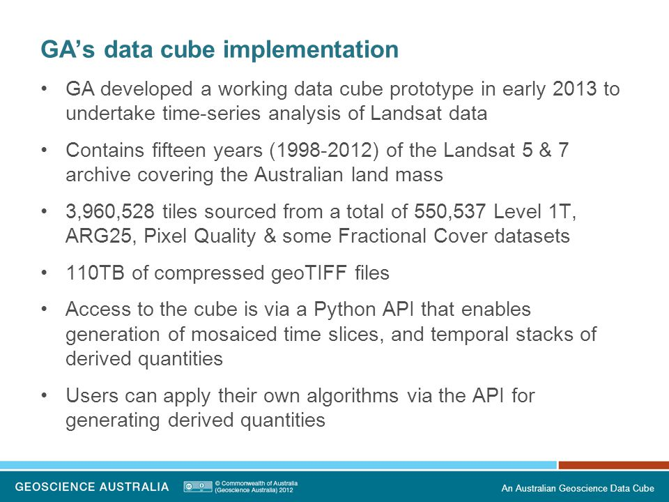 GA's data cube implementation