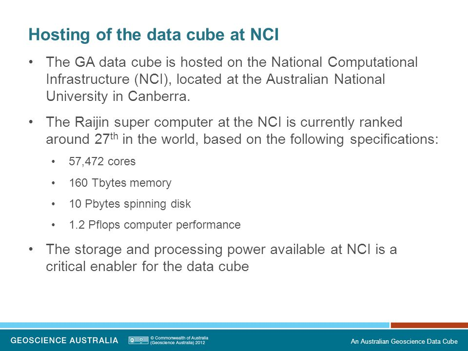 Hosting of the data cube at NCI
