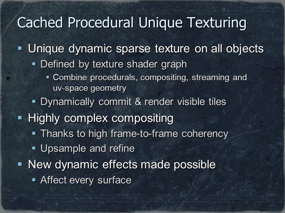 Cached Procedural Unique Texturing