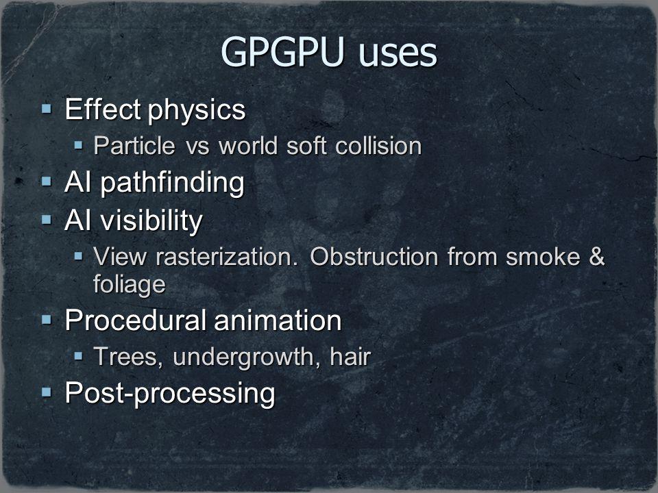 GPGPU uses Effect physics AI pathfinding AI visibility