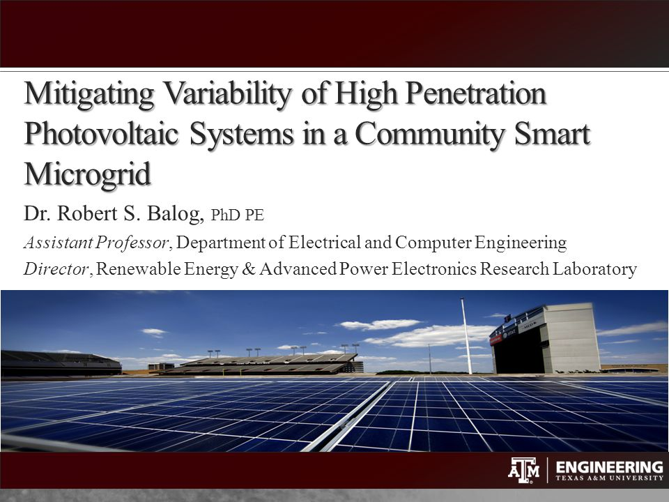 Mitigating Variability of High Penetration Photovoltaic Systems in a Community Smart Microgrid