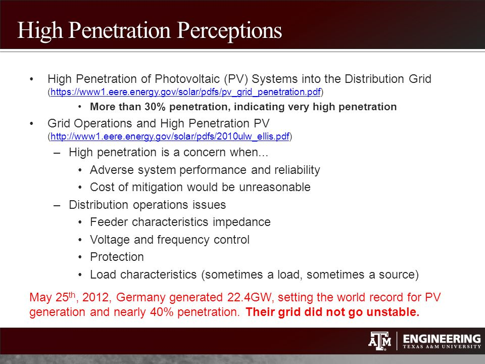 High Penetration Perceptions
