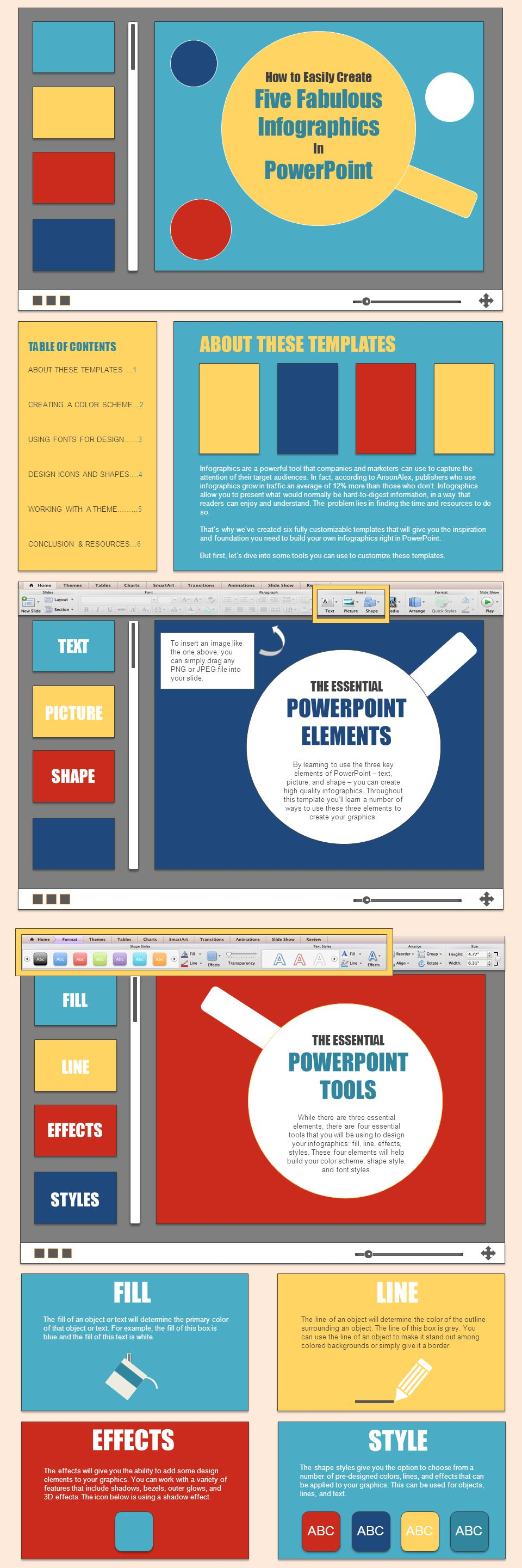 FILL LINE EFFECTS STYLE Five Fabulous Infographics PowerPoint