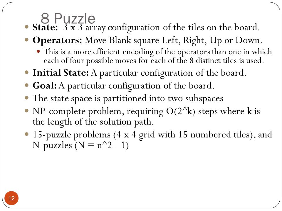 8 Puzzle State: 3 x 3 array configuration of the tiles on the board.