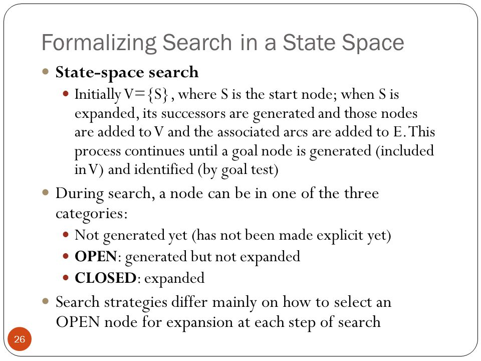 Formalizing Search in a State Space