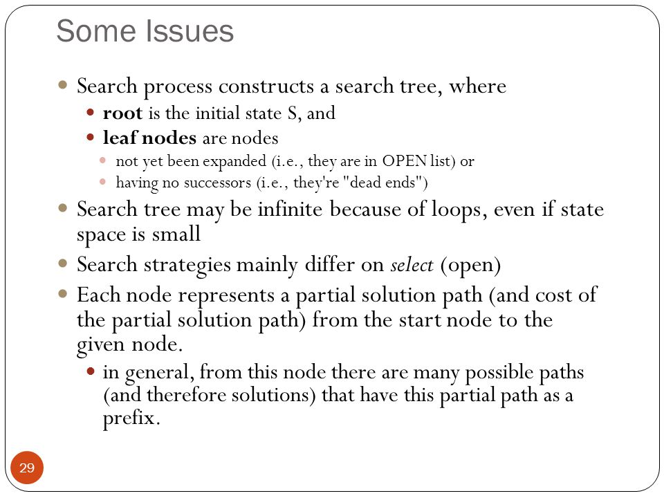Some Issues Search process constructs a search tree, where