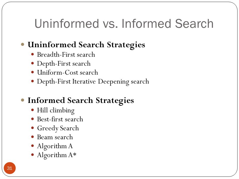 Uninformed vs. Informed Search