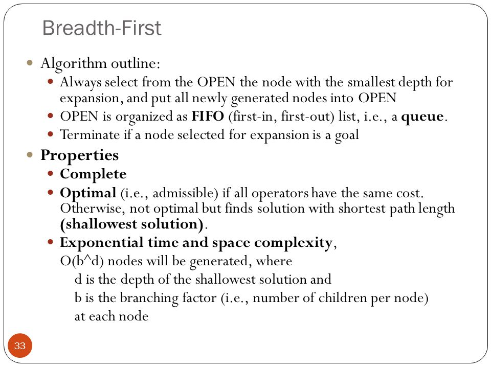 Breadth-First Algorithm outline: Properties