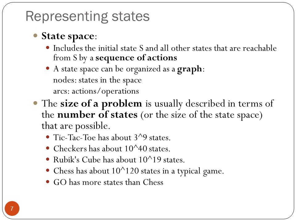Representing states State space: