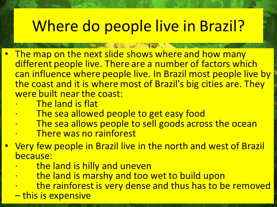 Where do people live in Brazil