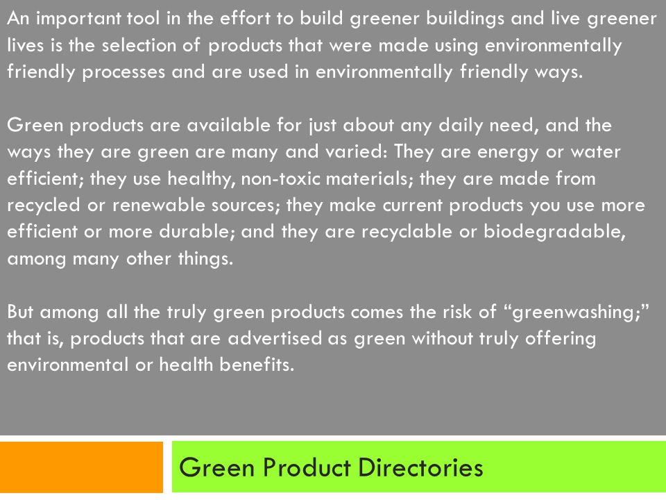 Green Product Directories