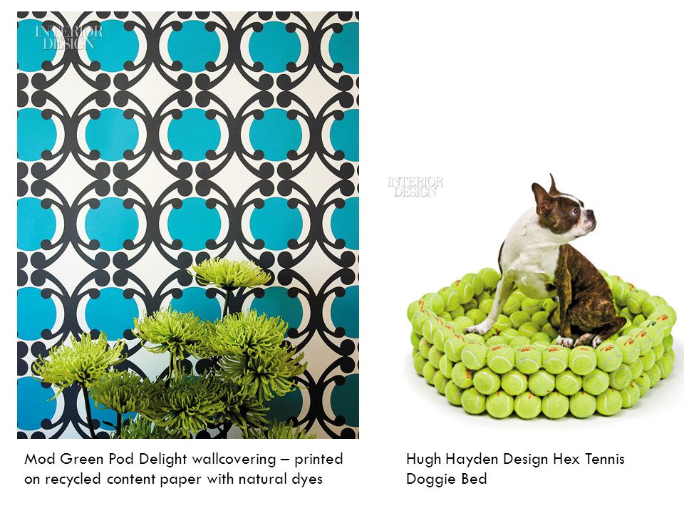Mod Green Pod Delight wallcovering – printed on recycled content paper with natural dyes