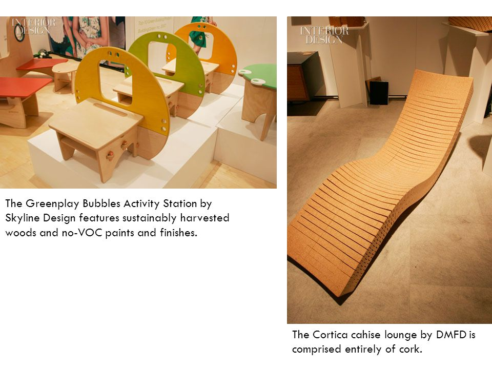 The Greenplay Bubbles Activity Station by Skyline Design features sustainably harvested woods and no-VOC paints and finishes.