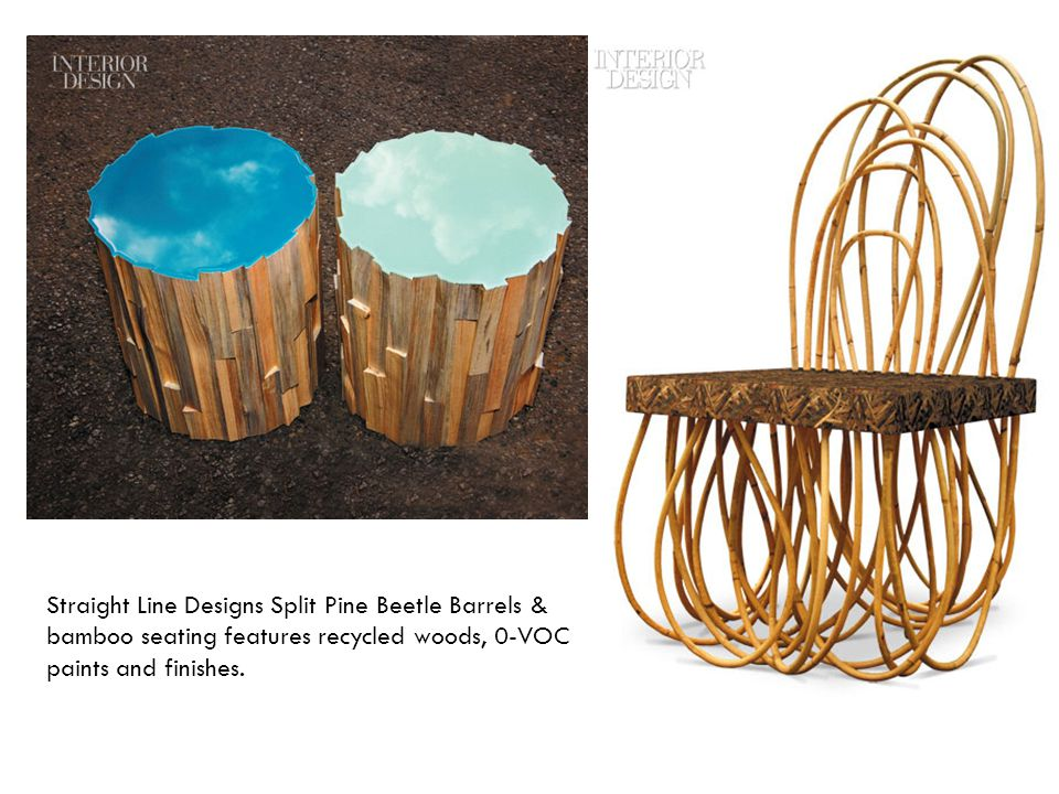 Straight Line Designs Split Pine Beetle Barrels & bamboo seating features recycled woods, 0-VOC paints and finishes.