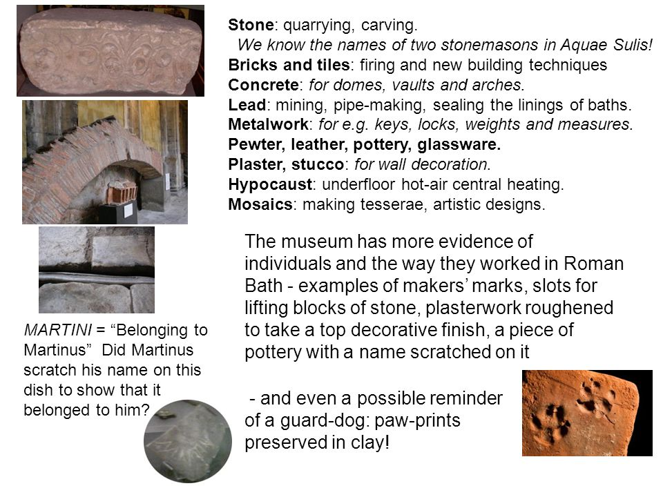 Stone: quarrying, carving.